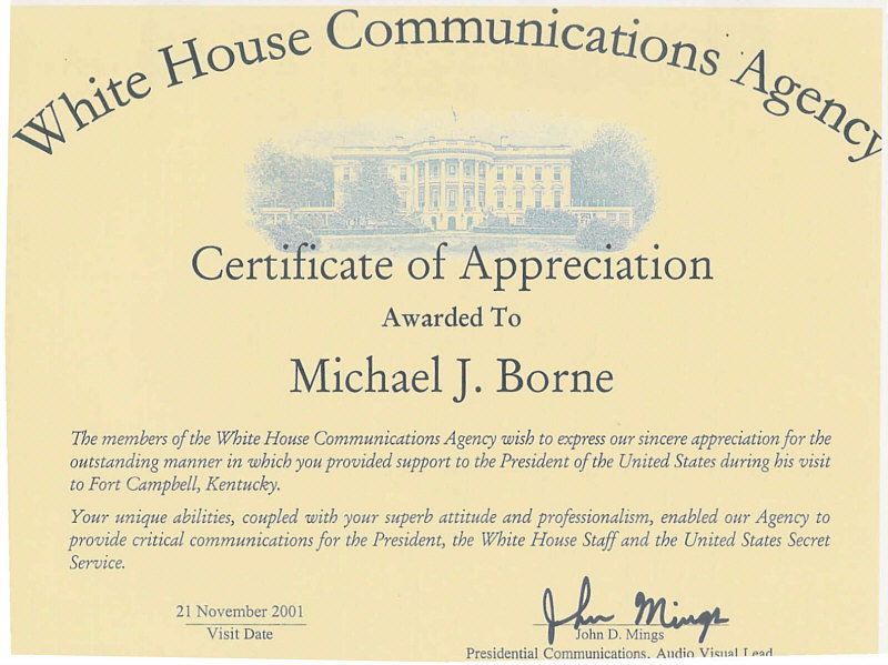 White House Reference Letter to Mike